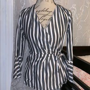 Striped Blouse w/ Tie